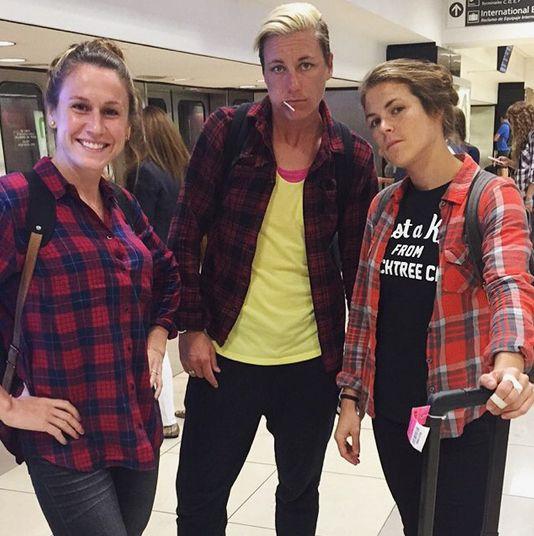 Flannels: Heather O'Reilly, Abby Wambach, Kelley O'Hara. (Instagram)