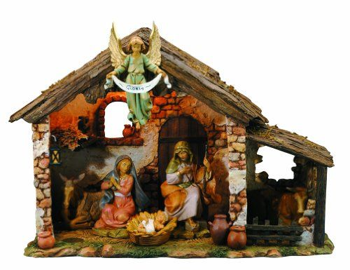Fontanini by Roman Figure Centennial Nativity Set with Lighted set 6-Piece 5-Inch. Made in Italy. Fontanini 6 -piece 5-inch Centennial Nativity Set with Lighted Stable. Includes Story Card. Traditional Design. Unknown. Weight: 900, width: 650, height: 1000 hundredths-inches. Hand painted Figs. Intricate Detail.