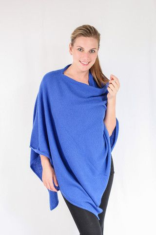 Cobalt Blue 100% Cashmere Poncho for sale in South Africa – Pebble&Jack