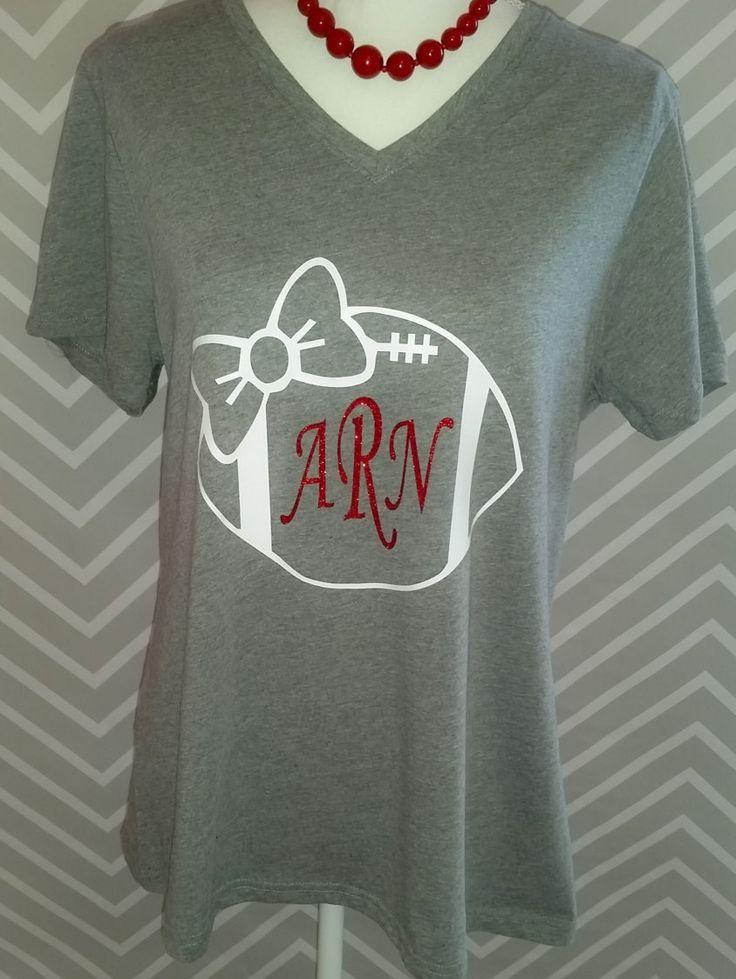 Football shirt with initials, football tee, custom football shirt by RACustomDesigns on Etsy