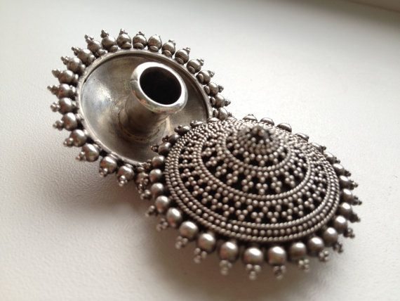 Rajasthani Tribal Silver Handmade Plug Earrings by DenisaUhliarova, $220.00