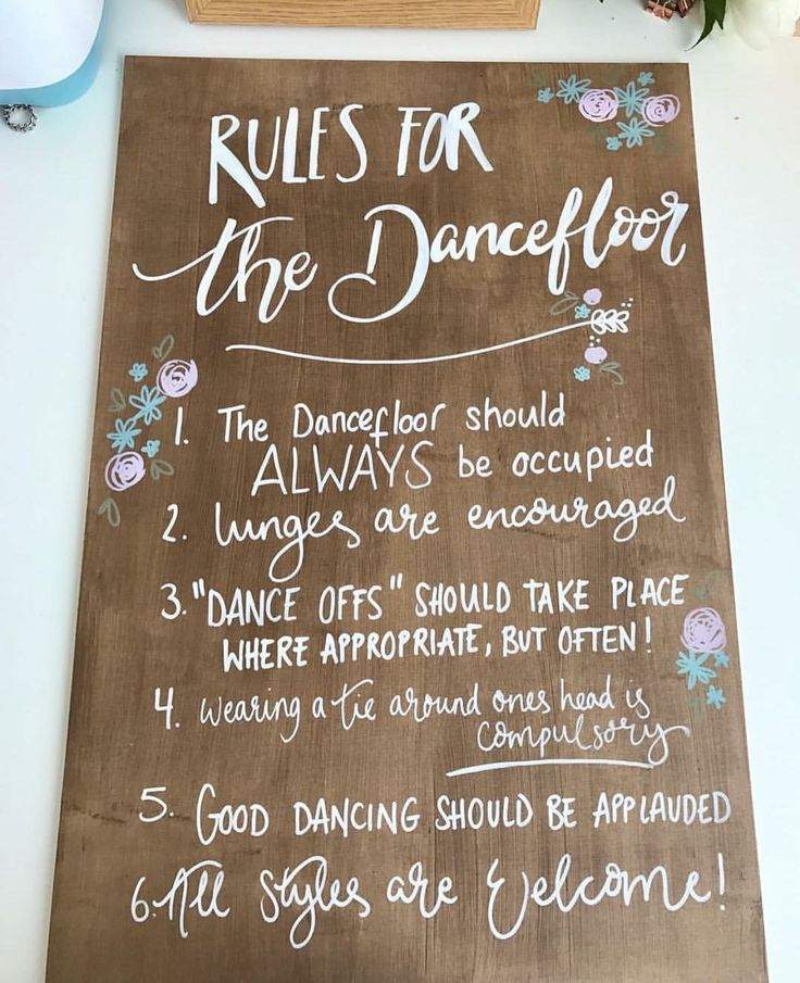 Wedding ideas - dance floor rules for a rustic barn wedding. Weddings with vintage touches. Chalk paint on pallet.