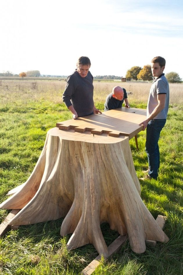 it took 8 months to uproot tree stump and form the square root table - Kopfteil Plant Holzbearbeitung