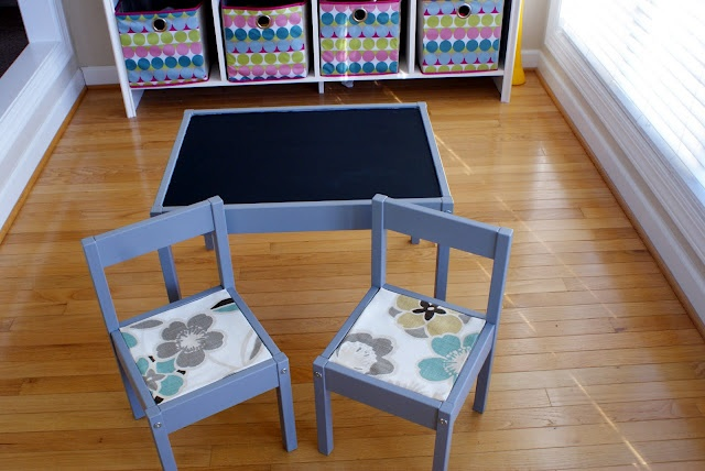 ikea toddler table chairs bought for 20 bucks customized with chalkboard paint fabric and. Black Bedroom Furniture Sets. Home Design Ideas