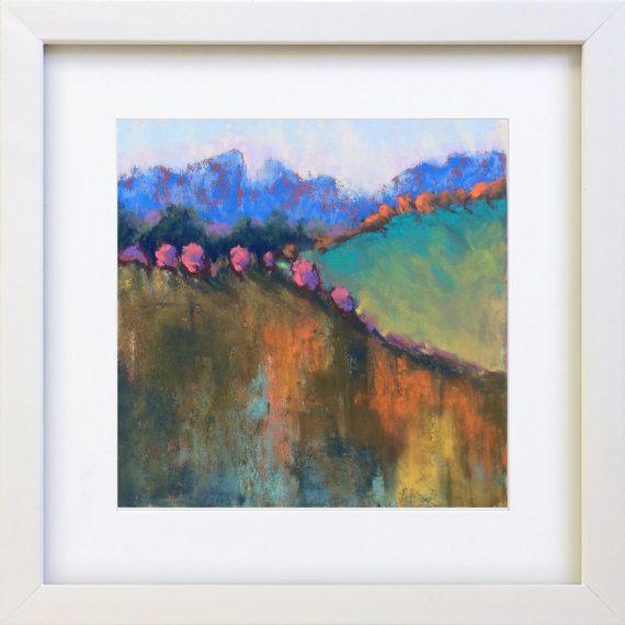 Original Pastel Painting Abstract Autumn by Bluishpurpletrees
