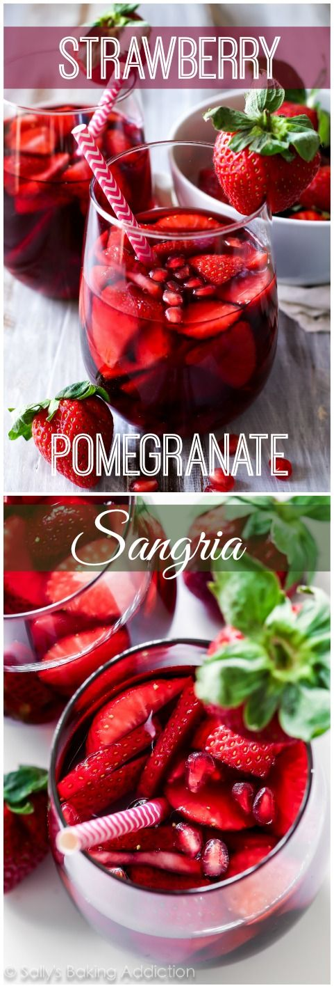 5 Ingredient Strawberry Pomegranate Sangria - A cheery and bright red wine sangria filled with strawberry and pomegranate.