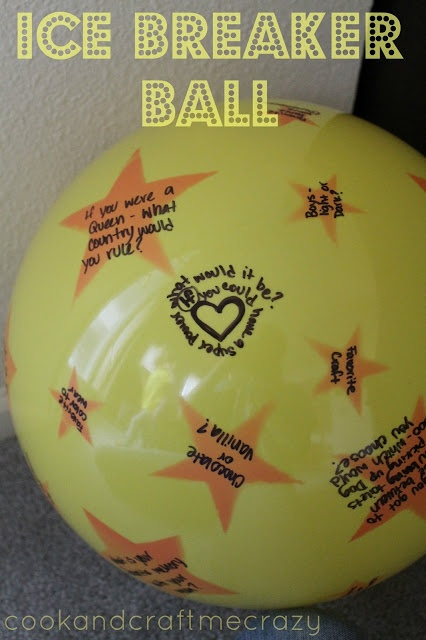 Ice Breaker Ball game: In a circle throw the ball around and answer the question that you put you finger on.