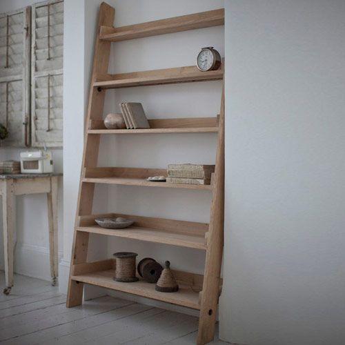 Bibliothèque en chêne forme échelle 6 étagères - GM | Hambledon