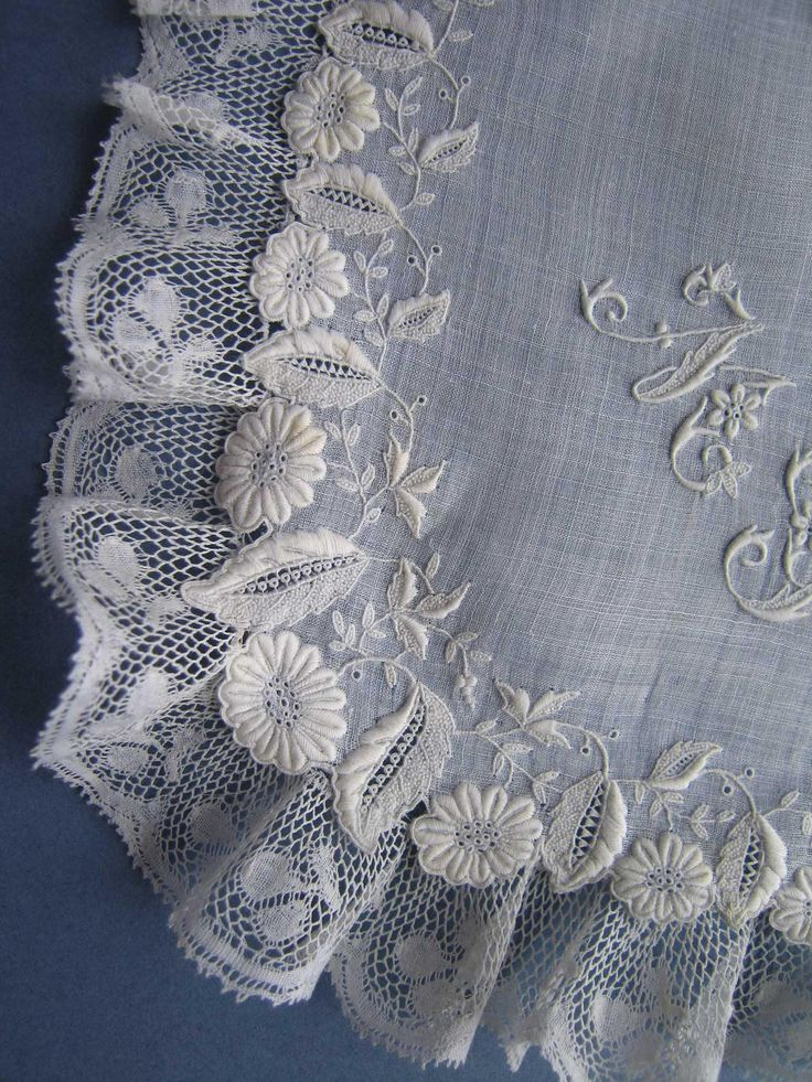 Lovely Antique 19thc  WHITEWORK Embroidered Handkerchief Lace Trimmed - w Mono by textilesgoneby on Etsy