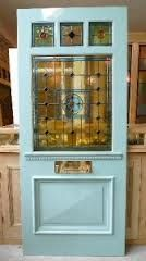 duck egg blue door with stained glass