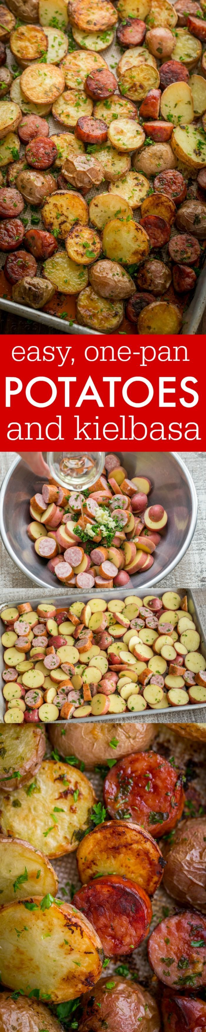 These roasted potatoes are ultra crispy and flavorful with a perfect browning on the coins of kielbasa. Easy, one-pan roasted potatoes and sausage recipe   http://natashaskitchen.com