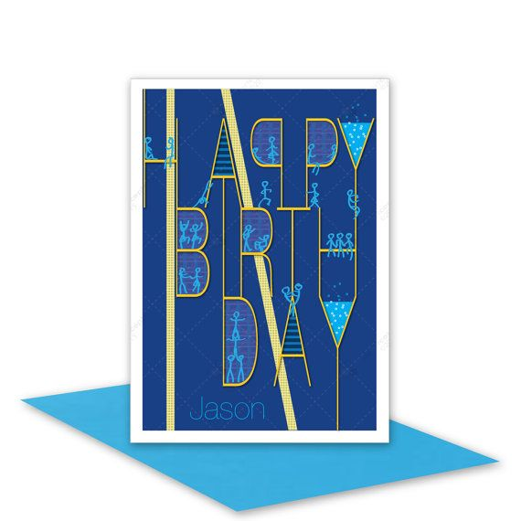 Happy Birthday Card personalized edit NAME for by stuartconcepts