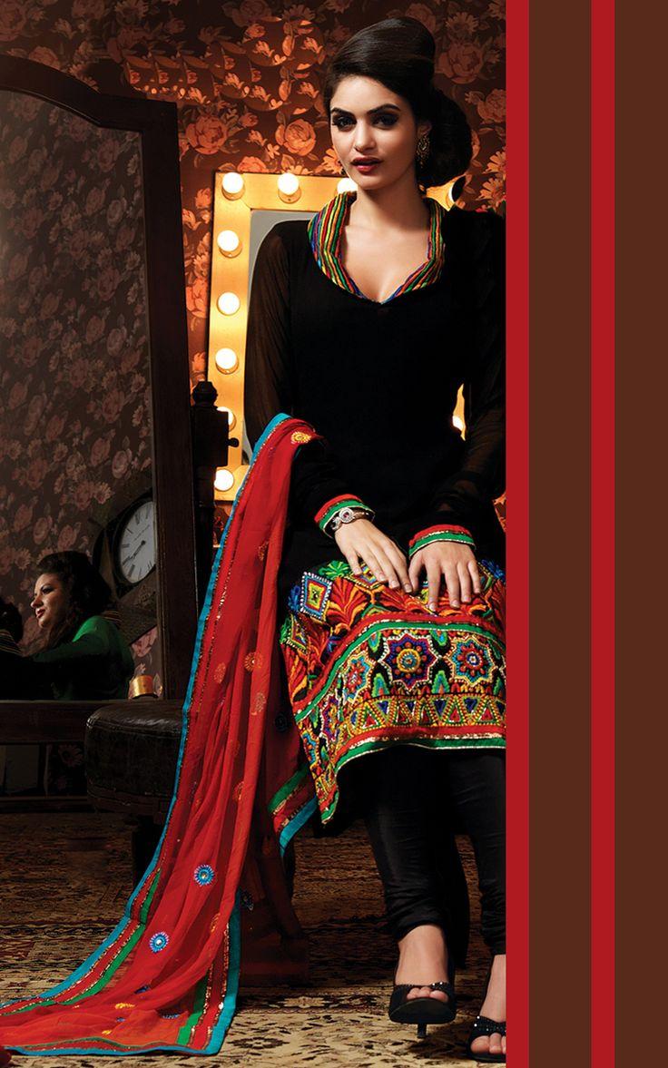Black Faux Georgette Designer #Salwar Suit