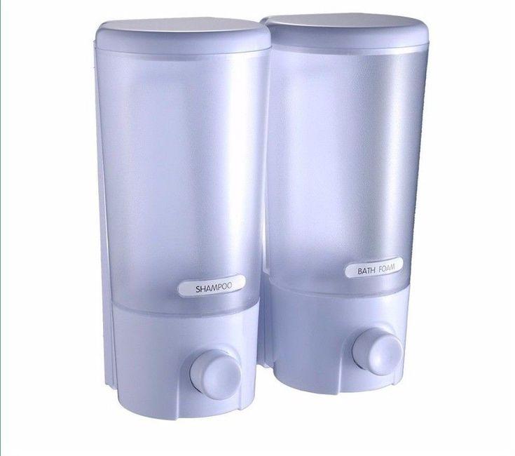 Wall Mount Soap Dispenser Sanitizer Shower Bath Shampoo Dispenser Dual Twin Type #Unbranded #Contemporary