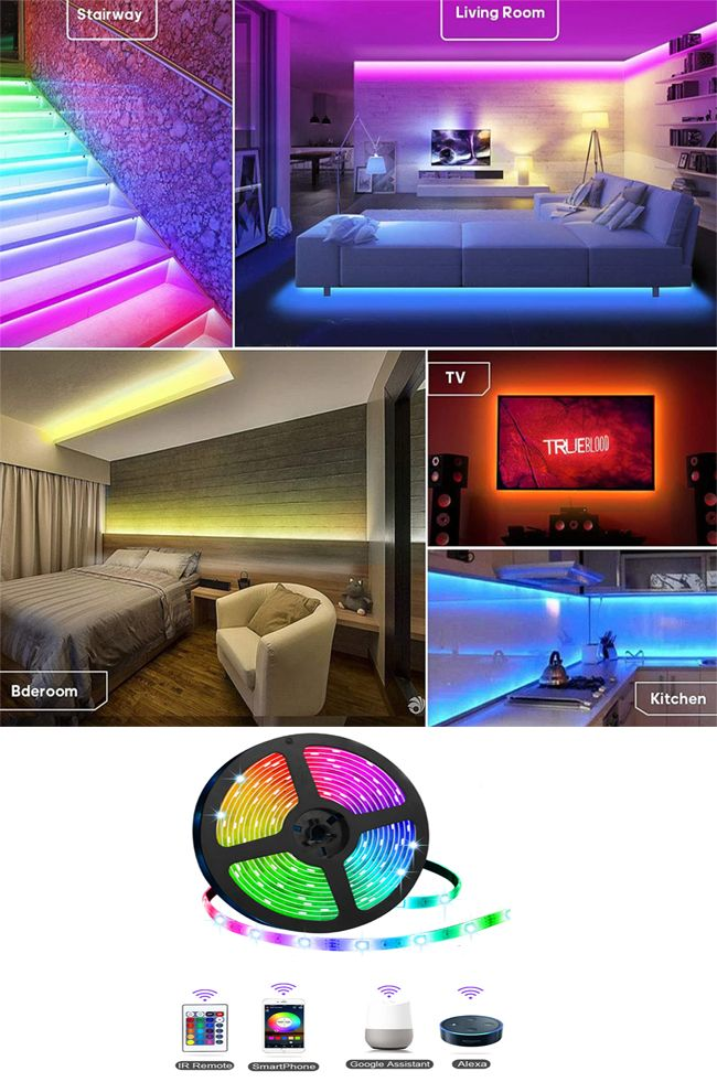 Led Strip Light Smart Phone Controlled Color Changing Smart Wifi Led Strip Light Works With Android And Ios Ifttt Google Assistant And Alexa 16 4ft Rgb Color Led Lighting Bedroom Strip Lighting Aesthetic
