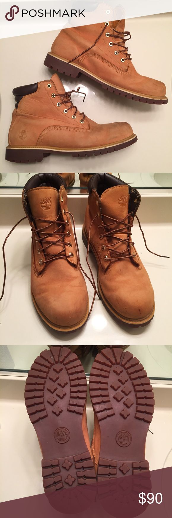 Authentic Timerland genuine leather boots size 12 Genuine leather authentic classic Timberland boots for men size 12. Have been worn a few times with some minor scuffs and stains but are in good condition. Timberland Shoes Boots