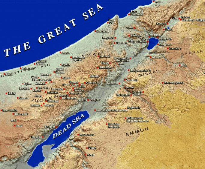 Map of Israel in Biblical times