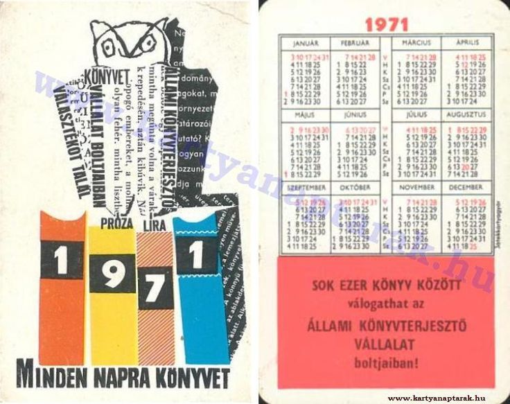 1971 - 1971_0567 - Régi magyar kártyanaptárak