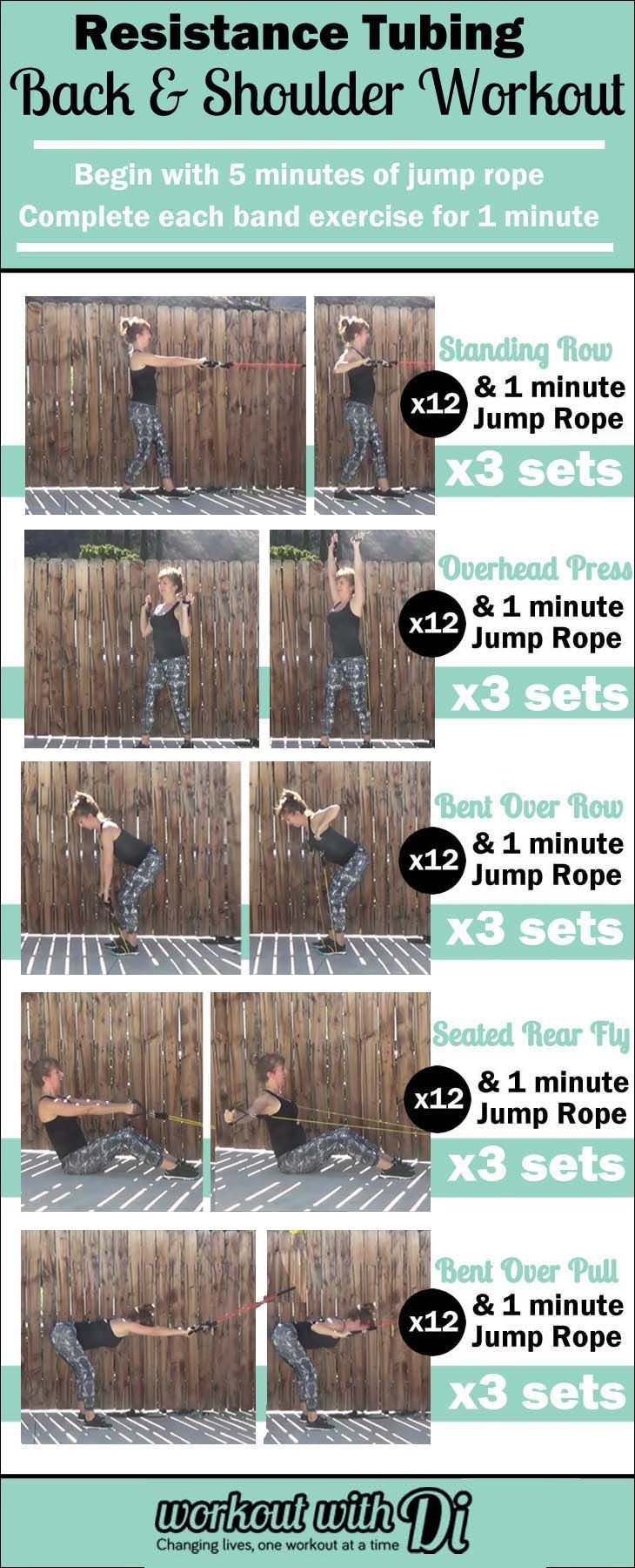 Resistance tubing workout for arms, back and shoulders. Sculpt a toned upper body with this at home workout