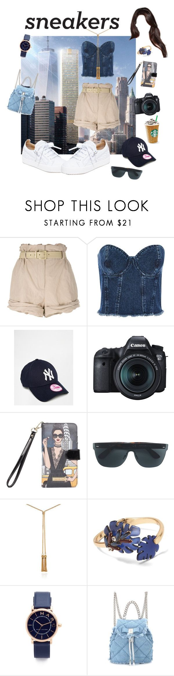 """Fresh kicks: NY City"" by sheri-govender ❤ liked on Polyvore featuring Moschino, Topshop, New Era, Eos, Universal, RetroSuperFuture, Chloé, Banana Republic, Marc Jacobs and Salvatore Ferragamo"