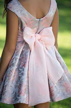 Sleeveless skater dress w/ silver/blush floral print, blush backbow