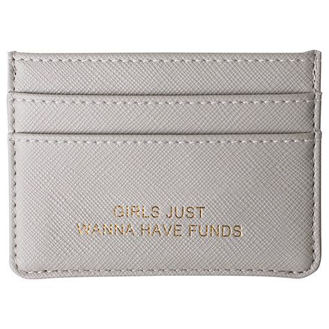 Keep essential cards close at hand with this sleek leather-look holder. Finished in a cool grey hue, and embellished with a quirky phrase, it makes the perfect accessory for carrying your funds. Complete with Katie Loxton gift bag. #afflink