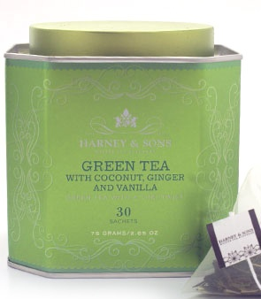 Harney and Sons Green Tea with coconut, ginger, and vanilla ... this stuff is amazing !