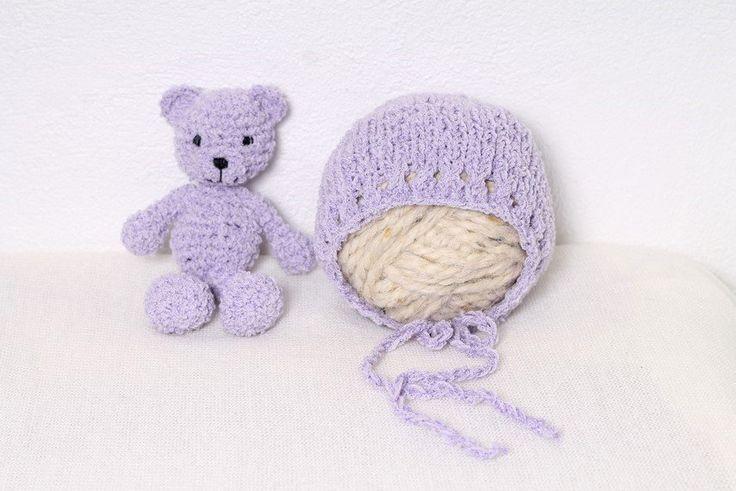 Rainbowbabyprops — Newborn set - Bonnet and teddy bear in lilac