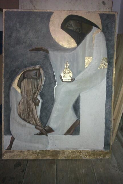 Icon of Woman Washing the Feet of Jesus with Her Hair, by Ivanka Demchuk