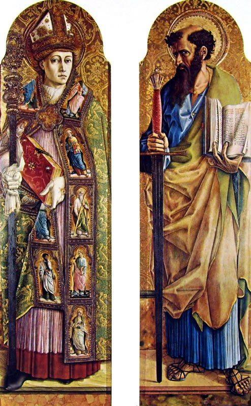 Carlo Crivelli - San Emidio d'Ascoli e San Paolo (Polittico di Sant'Emidio, dettaglio) - 1473 - Cattedrale di Sant'Emidio, Ascoli Piceno