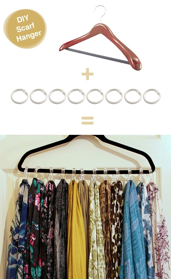 DIY scarf organizer using shower rings and hangers
