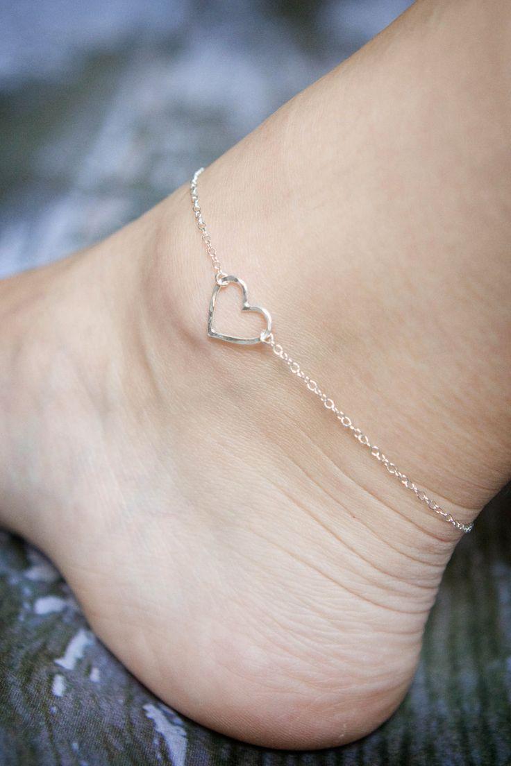 Sterling Silver Anklet - Hammered Heart Ankle Bracelet