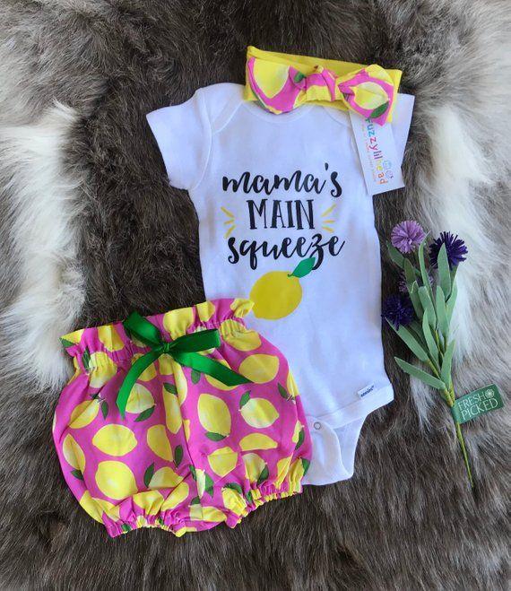 Wunderschöne Zitronen in pinkfarbener Baby-Blüte mit passendem Stirnband und Body / Mamas Hauptquetschung, Geburtstags-Outfit, Outfit zum Mitnehmen   – Pants Outfit