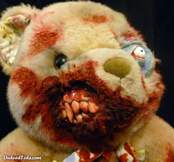 Gruesome zombie teddy bears. scary but also pretty cool!