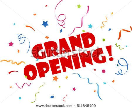 Grand opening banner with confetti