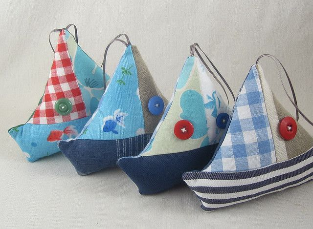 https://flic.kr/p/5arMei | Sail Away | Little sailboat plush ornaments.  I've got travelling on my mind these days, it seems...