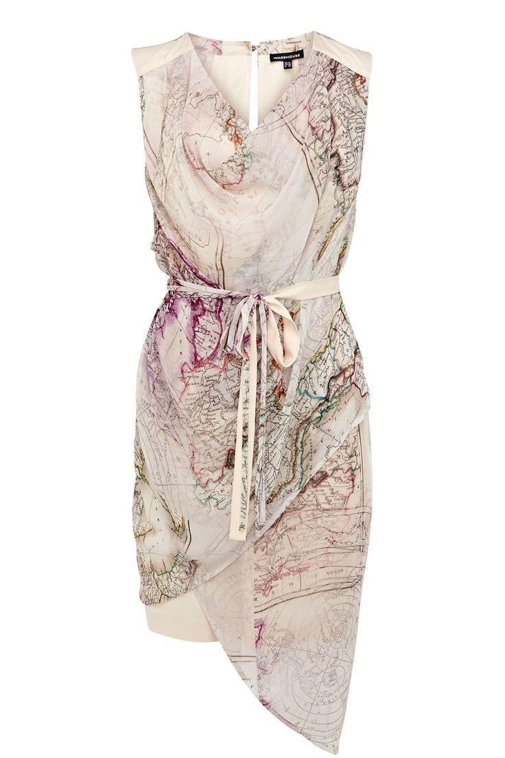Dresses | Multi MAP PRINT WRAP DRESS | Warehouse