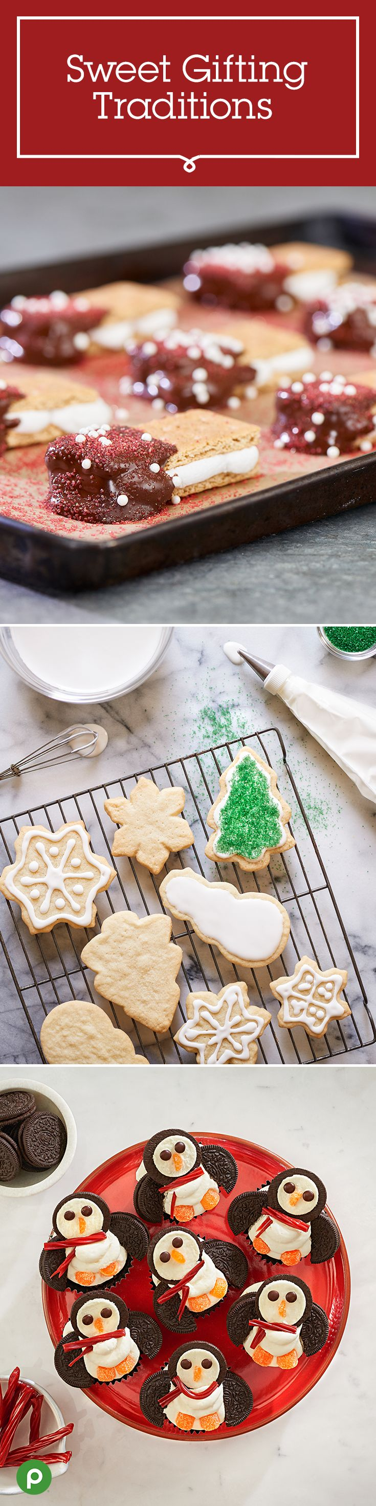 The best traditions are the ones that are shared. Here are three cookie creations that are sure to bring joy to any sweet tooth: Chocolate-Covered S'mores, Sugar Cookies with Royal Icing, and Polar Penguin Cupcakes. Get these Publix recipes to make for your family and friends.