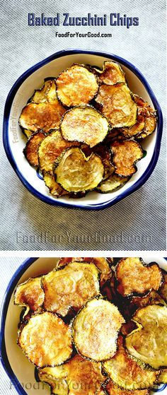 These oven Baked Zucchini Chips are amazingly crispy and loaded with flavor and crunch...   Baked Zucchini Chips full recipe on FoodForYourGood.com #zucchini_chips
