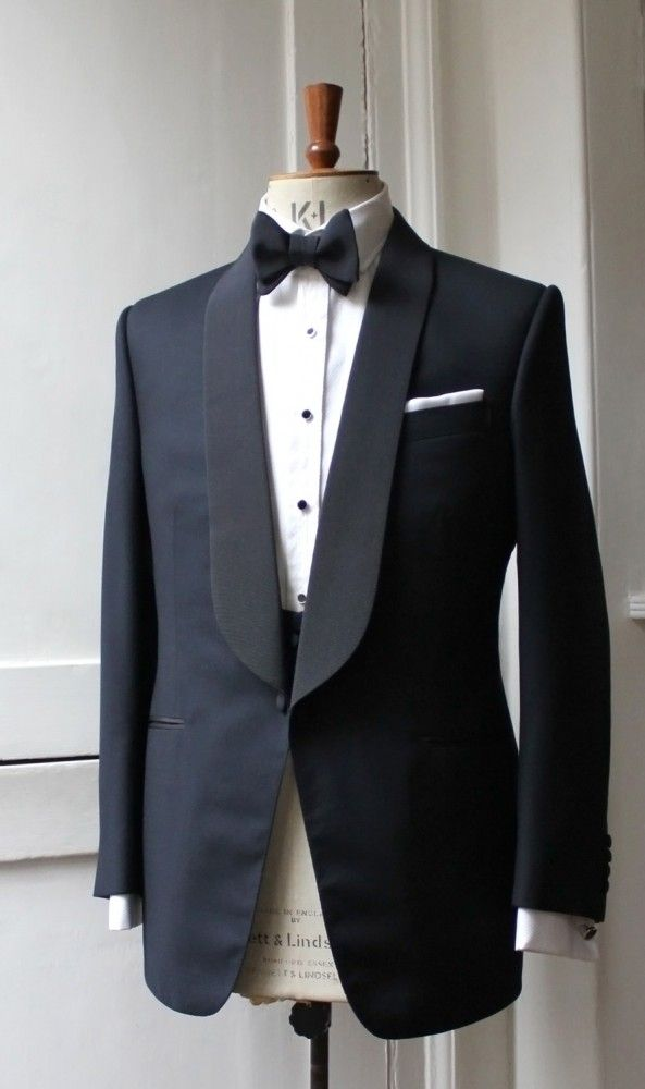 Bespoke midnight blue barathea dinner jacket, cut by Timothy Everest for Ralph Fiennes to wear to the premiere of Skyfall.