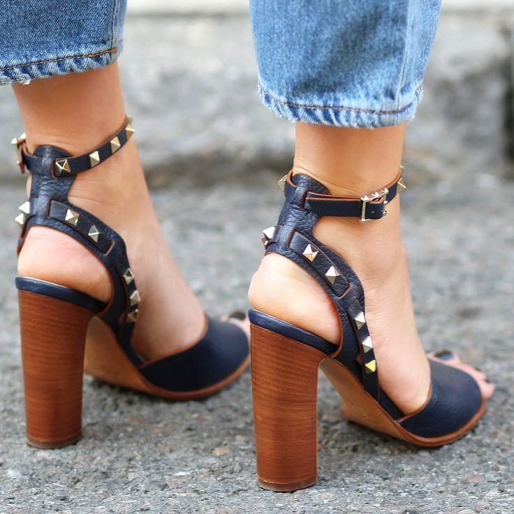 Wood block heels with studs