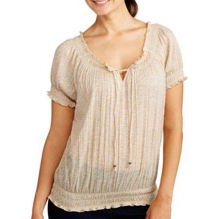 Faded Glory Women's Short Sleeve Crinkle Peasant Top, Beige
