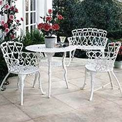 White Sweet Heart Wrought Iron Patio Set.