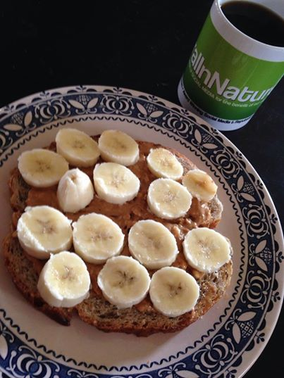 Non-GMO ancient grain bread peanut butter and banana sandwich with a coffee.  We love mornings like this. #YYC #YYCEats