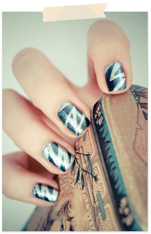-Nails Art, Nailart, Manicures Ideas, Wedding Nails, Nails Design, Nails Ideas, Nails Polish, Zig Zag Nails, Zigzag