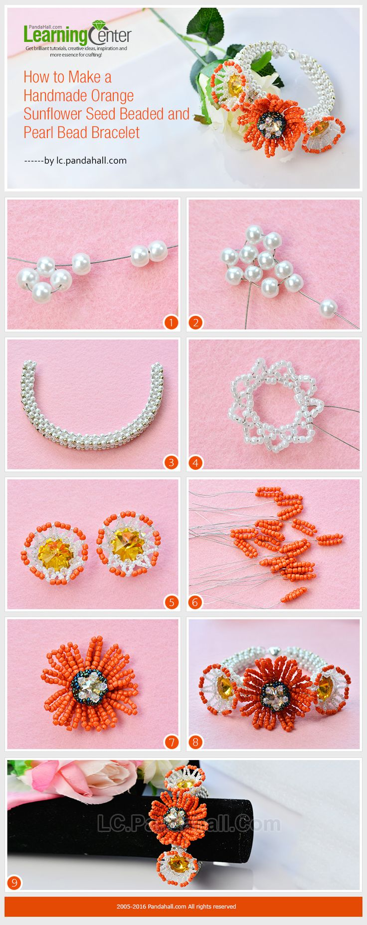 Tutorial on How to Make a Handmade Orange Sunflower Seed Beaded and Pearl Bead Bracelet from LC.Pandahall.com