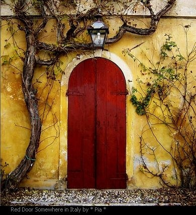 Rustic: Red Doors, The Doors, Secret Gardens, Yellow Wall, Colors, Front Doors, Beautiful Doors, Gates, Italy