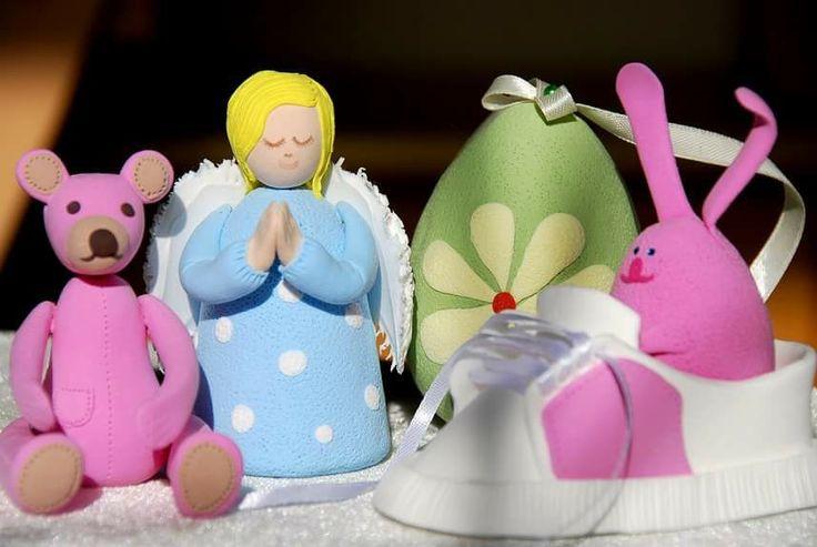 Ангел, зверюшки- игрушки для декора детской комнаты, рождественской елки. Полимерная легкая глина. Ручная работа