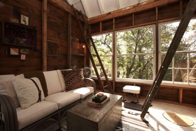 Camp Wandawega — Elkhorn, Wisconsin: Ladder, Living Rooms, Window, Trees Houses, Camps Wandawega, Treehouse, Sleep Loft, Cabins Interiors, Cabins Chic
