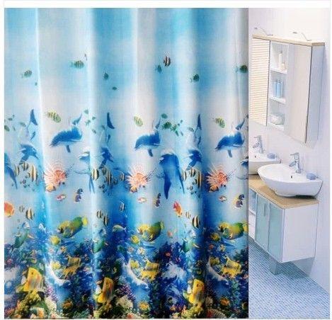 Opaque shower curtain / high-grade waterproof shower curtain mildew trade jumbo Ocean Blue Series #Affiliate